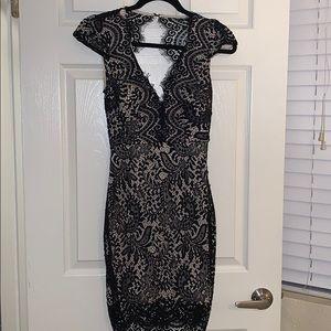 Black lace backless dress